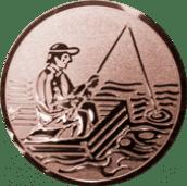 Emblem 25mm Angler im Boot, bronze