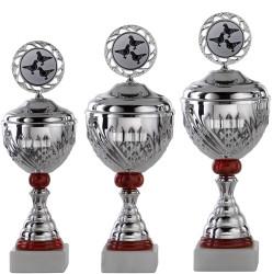 Pokale 3er Serie S750-3erB silber/rot mit Deckel 43 cm