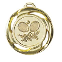 "Medaille ""Tennis"" Ø 40mm mit Band Gold"