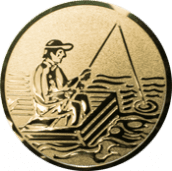 Emblem 25mm Angler im Boot, gold