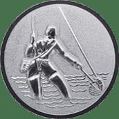 Emblem 25mm Fliegenangler im Wasser 3D, silber