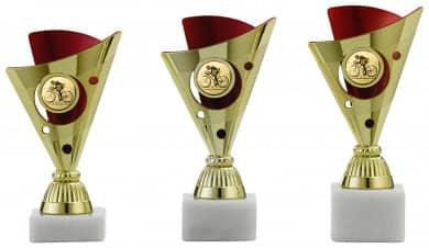 Pokale 3er Serie A1216 gold/rot 16 cm