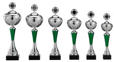 Pokale 6er Serie S473 silber/grün mit Deckel 35 cm