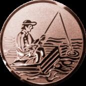 Emblem 50mm Angler im Boot, bronze
