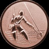 Emblem 50mm Fliegenangler im Wasser 3D, bronze