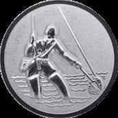 Emblem 50mm Fliegenangler im Wasser 3D, silber