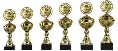 Badmintonpokale 6er Serie S148-BAD gold mit Deckel 24 cm