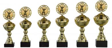 Bodybuildingpokale 6er Serie S148-BOD gold mit Deckel 25 cm