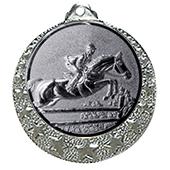 """Reitsport Medaille """"Brixia"""" Ø 32mm mit Wunschemblem und Band silber"""