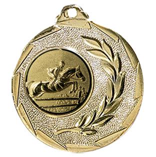 """Reitsport Medaille """"Cava"""" Ø 50mm mit Wunschemblem und Band gold"""