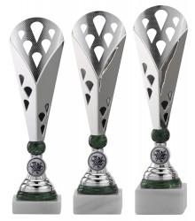 Pokale 3er Serie A301 silber/grün 32 cm