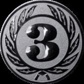 Emblem 50 mm Ehrenkranz mit 3, silber