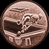 Emblem 50mm Billardspieler links 3D, bronze