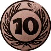 Emblem 25 mm Ehrenkranz mit 10, bronze