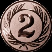 Emblem 25 mm Ehrenkranz mit 2, bronze