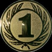 Emblem 25 mm Ehrenkranz mit 1, gold