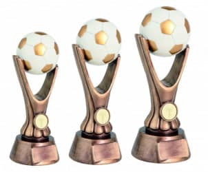 Fußballpokale 3er Serie TRY-RKO113 altgold mit weiß 18 cm