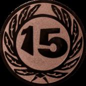 Emblem 25 mm Ehrenkranz mit 15, bronze