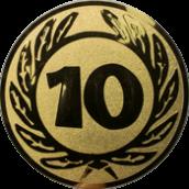 Emblem 25 mm Ehrenkranz mit 10, gold