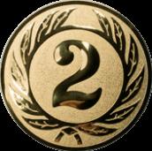 Emblem 25 mm Ehrenkranz mit 2, gold