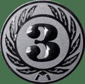 Emblem 25 mm Ehrenkranz mit 3, silber