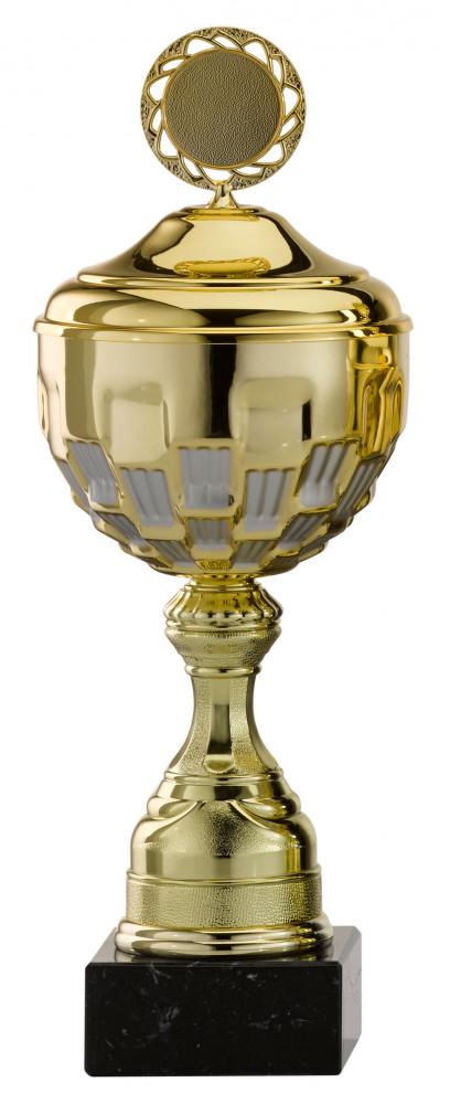 Pokale 12er Serie S760 gold/silber mit Deckel 27 cm