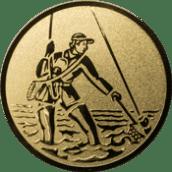 Emblem 50mm Fliegenangler im Wasser, gold