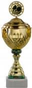 Pokale 12er Serie S754 gold-grün mit Deckel 27 cm