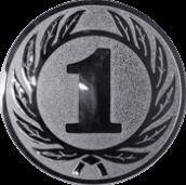 Emblem 25 mm Ehrenkranz mit 1, silber