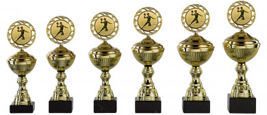 Handballpokale 6er Serie S148-HA gold mit Deckel 22 cm