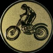 Emblem 25mm Motorrad mit stehendem Fahrer, gold