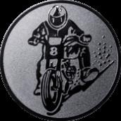 Emblem 25mm Motorradfahrer 2, silber