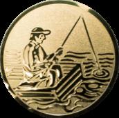 Emblem 50mm Angler im Boot, gold
