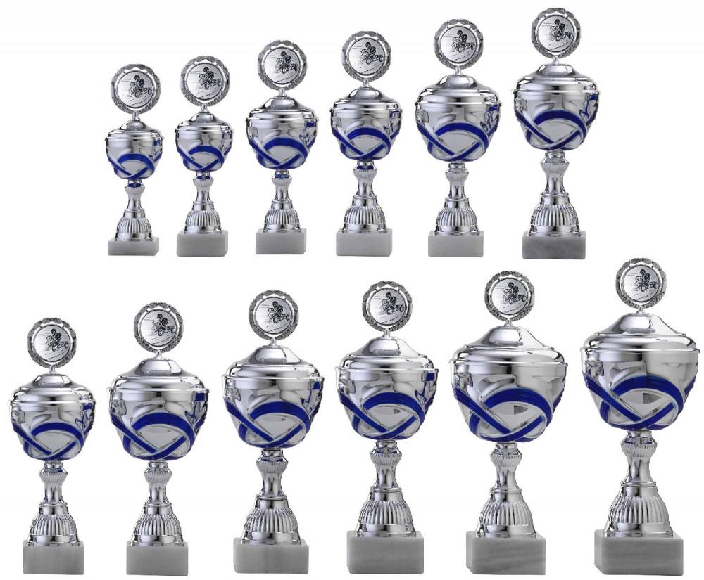 Pokale 12er Serie S763 silber/blau mit Deckel 26 cm