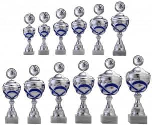 Pokale 12er Serie S763 silber/blau mit Deckel 35 cm