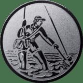 Emblem 25mm Fliegenangler im Wasser, silber