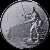 Emblem 50mm Angler mit Kescher links 3D, silber