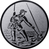 Emblem 50mm Fliegenangler im Wasser, silber