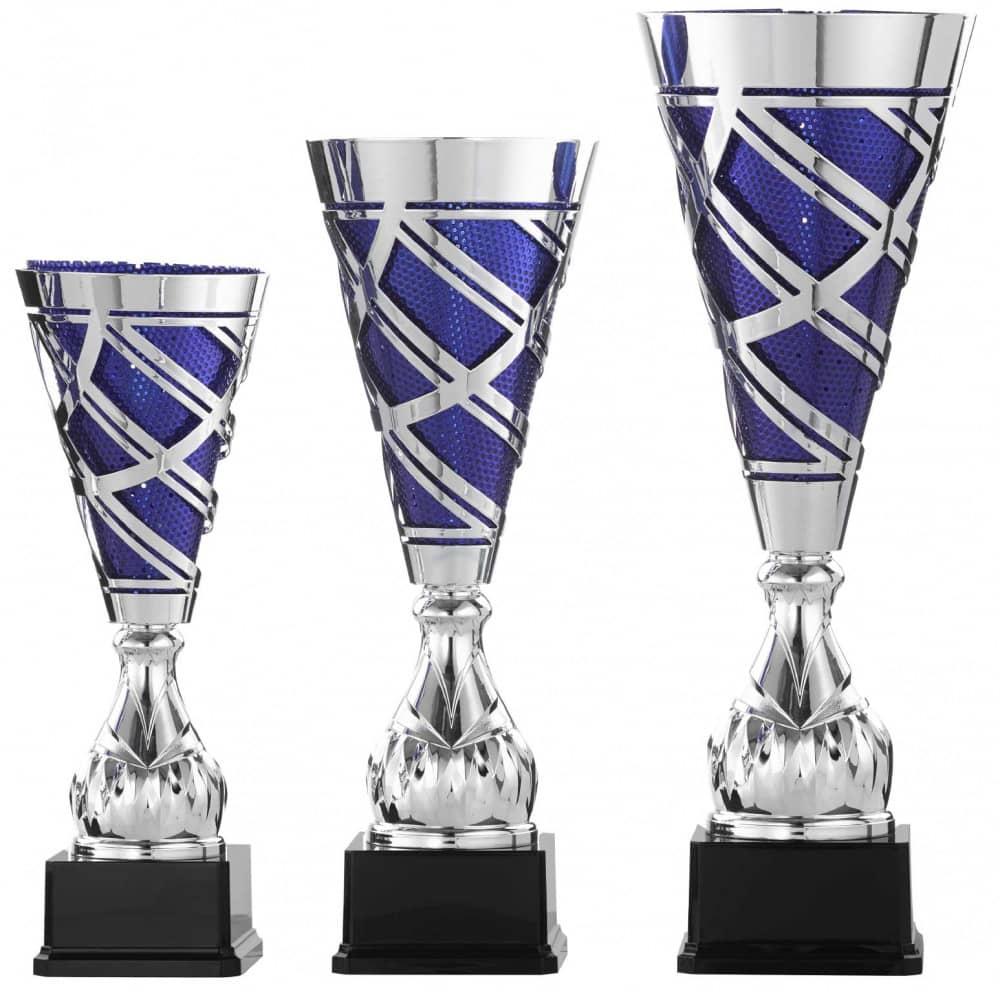 Pokale 3er Serie S923 silber/blau 44 cm