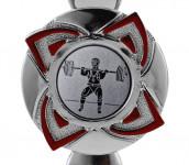 Pokale 3er Serie S1217 silber/rot 16 cm