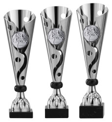 Pokale 3er Serie A302 silber/schwarz 36 cm