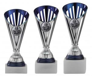 Pokale 3er Serie A311 silber/blau 20 cm