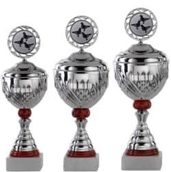 Pokale 3er Serie S750-3erB silber/rot mit Deckel 37 cm