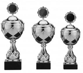 Pokale 3er Serie S756-3erB silber/schwarz mit Deckel 42 cm