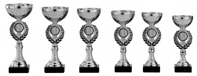 Pokale 6er Serie S156 silber-schwarz 21 cm