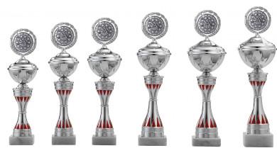 Pokale 6er Serie S158 silber-rot 28 cm