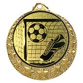 """Fußball Medaille """"Brixia"""" Ø 32mm mit Wunschemblem und Band gold"""