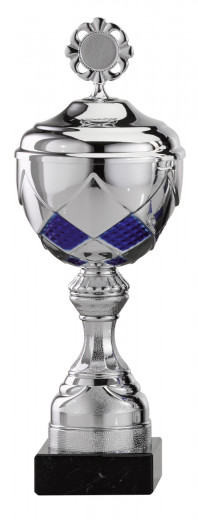 Pokale 6er Serie S477 silber-blau mit Deckel 26 cm