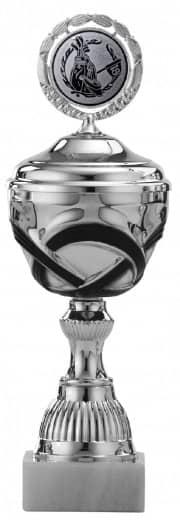 Pokale 6er Serie S504 silber/schwarz mit Deckel 26 cm