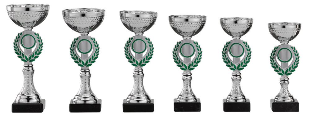 Pokale 6er Serie S154 silber-grün 21 cm